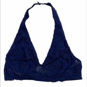 Victoria's Secret navy blue halter lace bralette